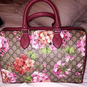 Medium Blooms GG Supreme Top Handle Canvas Bag